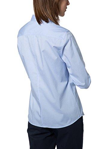 Eterna Chemisier à Manches Longues Modern Classic Stretch à Carreaux bleu clair/blanc