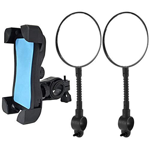 1×Fahrrad Handyhalter und 2× Fahrrad Rückspiegel, Qianyou Universal Fahrrad 3.5''-6.5'' Handy Haltung Verstellbar Lenker Clip Rund Schwanenhals Fahrradspiegel Fahrradzubehör Set
