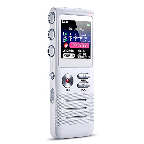 DHYBDZ Digitaler Sprachrecorder HD Remote Noise Reduction Micro-Sprachsteuerung Lineare Aufnahme APE Lossless MP3-Recorder für Konferenz/Lernen/Vortrag/Interview/Forum,16GB -