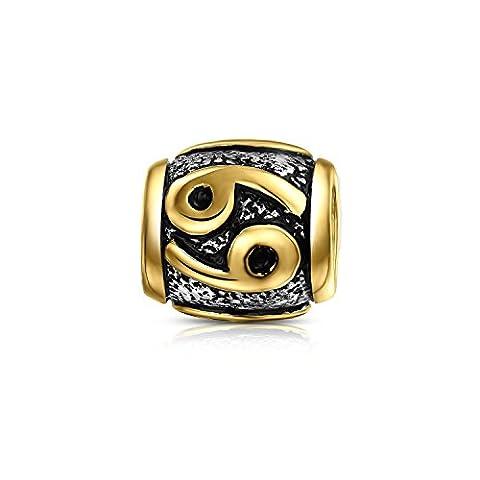 Bling Jewelry Gold Vermeil Sterling-Silber Krebs Sternzeichen Bead