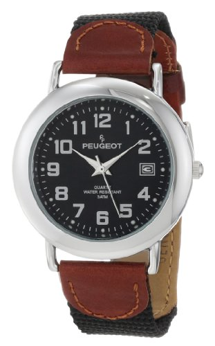 Peugeot Unisex 484BK Unisex Black Dial Leather and Canvas Strap Watch