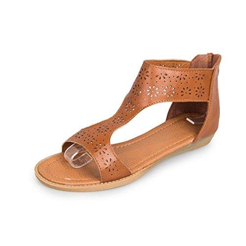 SANFASHION Große Förderung Frauen Gladiator Sandale zurück Zip Closure Einlegesohle Sandal Closure und Moderate Heels