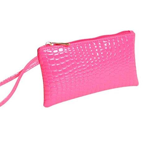 Geldbörse, Rcool Frauen-Krokodil Leder Clutch Handtasche Tasche Münze Geldbeutel Geldbörse (Hot Pink)
