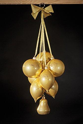 Glaskugelgehänge Gold Opal, 8-teilig mit 4 Kugeln, 3 Oliven & 1 Glocke, Motiv gold, mundgeblasen und handdekoriert Kugel 10 cm, Olive 13 cm und Glocke 8 cm Gesamtlänge ca. 60 cm NEU Fensterbild Fensterdeko Türdeko