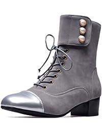 SHOWHOW Damen Nubuk Martin Boots Kurzschaft Stiefel Mit Schnürsenkel Schwarz 33 EU Q89YEjmJ