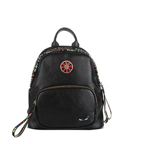 Weiblicher Rucksack Fashion Wild Soft Leder Persönlichkeit Student Bag,Grey Black