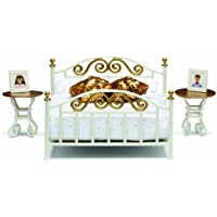 Lundby 1:18 Scale Dolls House Smaland Brass Bed Set