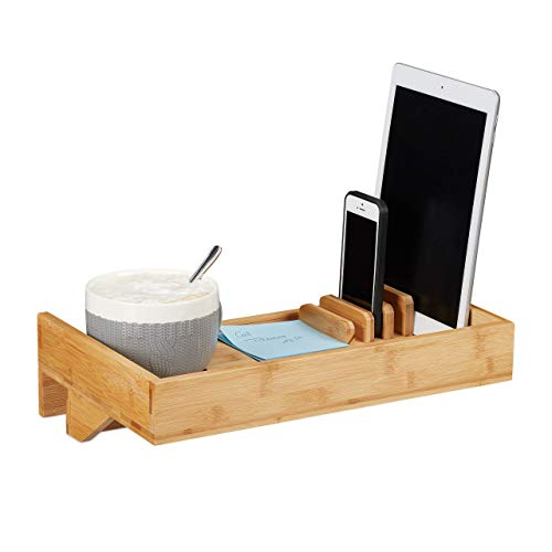 Relaxdays Bettablage, Mini-Nachttisch zum Anklemmen, aus Bambus, Getränkehalter D: 9 cm, platzsparender Organizer, Natur, Durchmesser