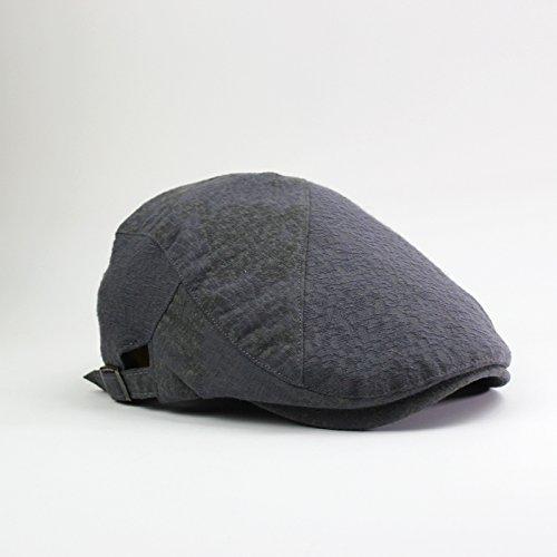 GUYOULY Printemps Et Automne Chine Vent Cap Femelle Beret National Vent Avant Cap Homme Coton Respirant Chapeau Homme Voyage,56-58Cm,Gris Foncé B