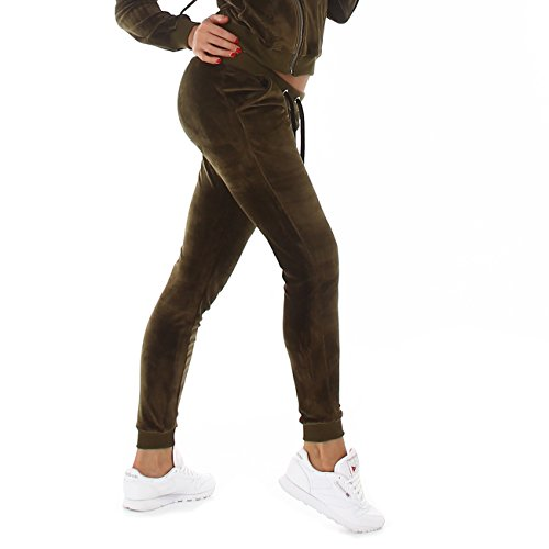 Jela London I Damen Velours-Jogginghose I Kordelzug I Wellnesshose I bequeme Freizeithose I Samtig S-M-L 6 Farben (L, Britisch Grün) (Grüne Velour Hose)