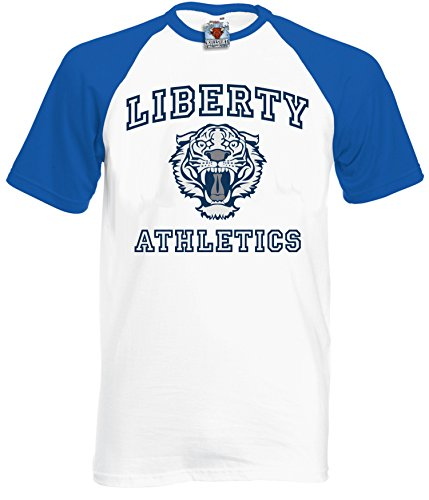Bullshirt 's Herren 's Liberty Athletics Baseball T-Shirt – Inspiriert von 13 Gründe, warum Short Sleeve White / Royal Blue