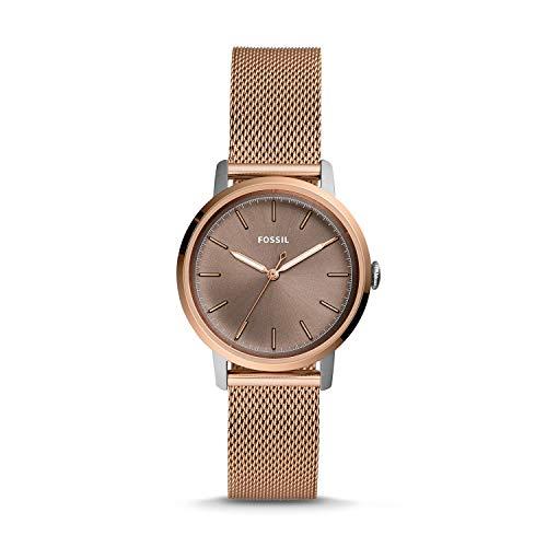 fossil neely orologio da donna in acciaio inossidabile a tre tonalità in oro rosa es4468