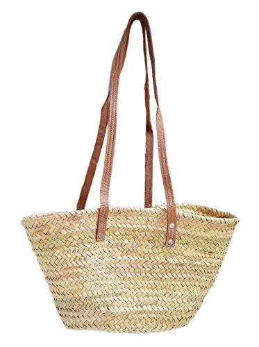 Capazo de Palma básico, con asas larga de cuero curtido estilo rústico. Cesto o Bolso de mimbre para la playa, fibras naturales. (7V, aprox. 42x25 cm)