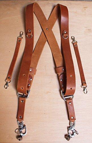 Imbracatura a tracolla per doppia (multi) fotocamera, marrone chiaro, in vera pelle; realizzata a mano in Inghilterra