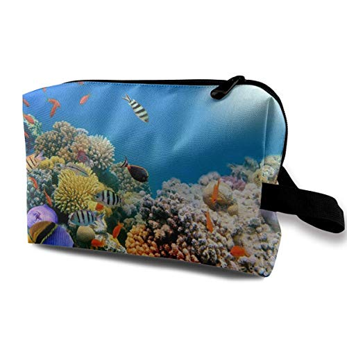Travel Cosmetic Bag Tropical Fish On Coral Reef Lady Make-up Organizer Clutch Bag with Zipper Toiletry Storage Pouch - Home Essentials Reef