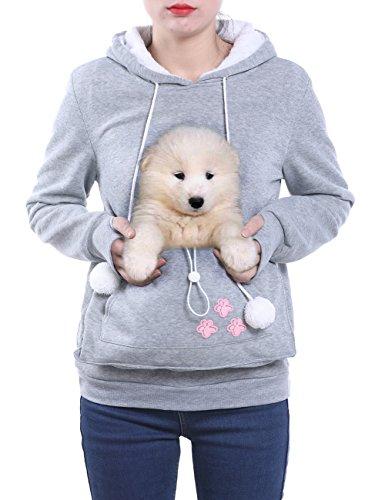 Wangyue Frauen Niedliche Känguru Tasche Hoodie Langarm Pullover Sweatshirt Grau S