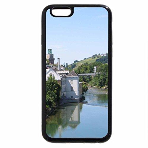 iPhone 3S/iPhone 6Coque (Noir) une rivière dans une ville des églises complet en Autriche