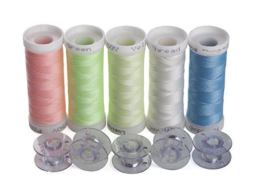 Simthreads 5 Colori si illuminano al buio Ricamo Filo, 150 yarde / spool, con 5 Pezzi Tipo A Bobine di plastica