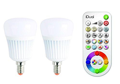 iDual-LED-Leuchtmittel (E14). Verpackungsinhalt: 2 Leuchtmittel plus Fernbedienung. Warmweiß bis Kaltweiß; Dimmfunktionen; Multicolor-Umgebungs-...
