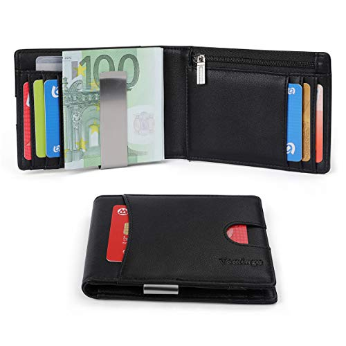Herren Geldbeutel Geldbörse mit Geldklammer & Münzfach   RFID Blocker Kreditkartenetui Karten Portemonnaie   Dünne Brieftasche Portmonee für Männer XB-036 Schwarz