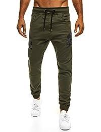OZONEE Hombre Jogger Chinos Jogg Pantalón Holgado Pantalón Chándal Fitness ATHLETIC 706 - algodón, Verde, 100% algodón 100% algodón. \n\t\t\t\t, hombre, L