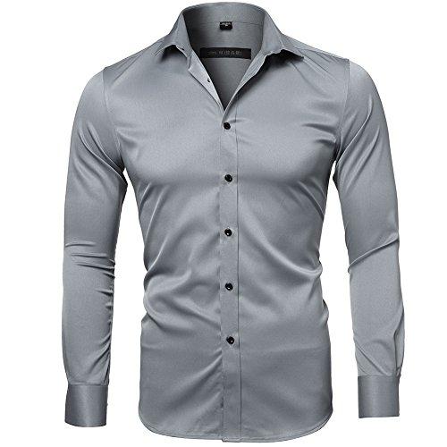 Camicia elastica di bambù fibra per uomo, slim fit, manica lunga casual/formale, grigio ardesia, 38 (collo 38cm, petto 96cm)