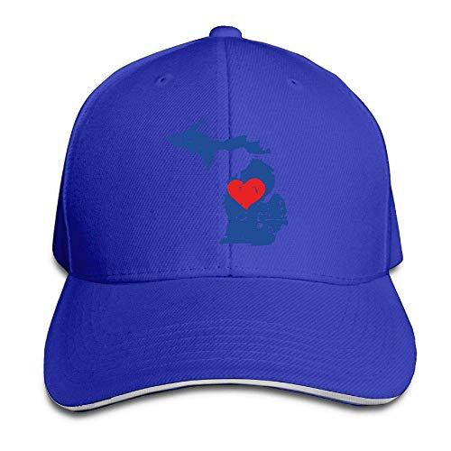 AOHOT Herren Damen Baseball Caps,Hüte, Mützen, Classic Baseball Cap, Unisex Michigan State Map with Heart Adjustable Sandwich Peaked Cap Dad Hat (Wii Einhorn U Spiel)