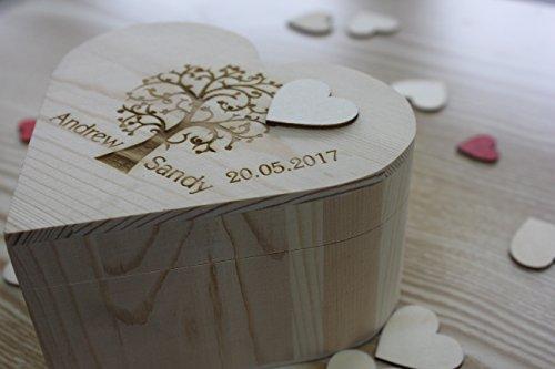 Rústico Corazón Shap Árbol de boda caja de madera grabado personalizado Novia y novio nombre boda libro de visitas corazón drop caja para regalos boda