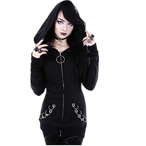 Madmoon Damen Sweatjacke Hoodie Sweatshirt Kapuzenpullover Frauen Lose Gothic Punk Langarm Kapuze Solid Black Cardigan Jacke Mantel Reissverschluss Streetwear Frühling Herbst - Gothic-damen-sweatshirt
