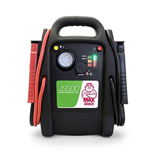 Maxtools js500 avviatore emergenza per auto diesel e benzina, 2200a, 12v, jump starter con torcia led
