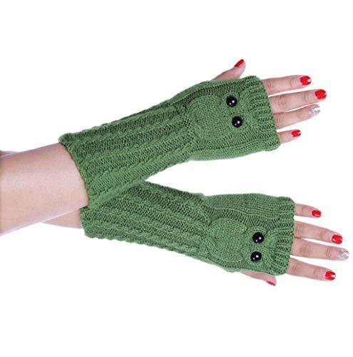 Rosennie Damen Gestrickt Arm Eule Fingerlos Handschuhe Fäustling (Grüne Lange Handschuhe)