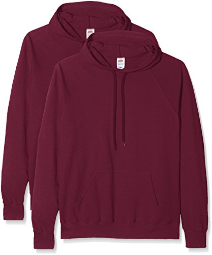 Fruit of the Loom Herren Sweatshirt Lighthweight Hooded Sweat Rot (Burgundy)