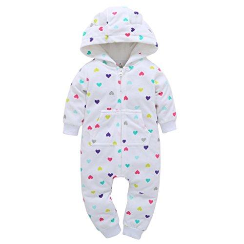BURFLY Kinderkleidung ♥♥Baby Dick langärmliger Reißverschluss Stück Liebe gedruckt Print Kapuzen Outfit, Anzug für 0-24 Monate Baby (9 Monat, Weiß) (Gedruckt Baumwollsamt)