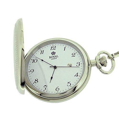 Royal London Herren Taschenuhr silberf., mit Datum, 30 cm Kette 90000-01