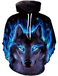 Domybest 3D Wolf Digital Print Herren Pullover Hoodies Unisex Sweatshirt  Baseball Tops 4e063853b1