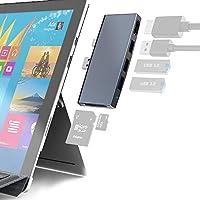 جهاز USB 3.0 من Surface Pro 6 5 4 USB 3.0 ، محول محور USB 3.0 × 3 ، قارئ بطاقة ذاكرة SD وTF/Micro SD ، Mini DP إلى 4K HDMI تصميم خاص لـ Microsoft Surface Pro 6th / 5th / 4th Gen