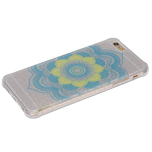 Custodia iPhone 6 Plus 6S Plus, ISAKEN Cover per Apple iPhone 6 Plus 5.5 [TPU Shock-Absorption] - Glitter Farfalle Design Custodia Case Ultra Sottile TPU Morbido Protettiva Cassa Bumper - Glitter Far Tribal fiori blu