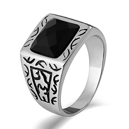 Edelstahl Silber Totem mit Zirkonia Rechteck Breite 15 MM Freundschaftsringe Partner Ring Größe 60 (19.1) (Einfach Assassins Creed Kostüm)