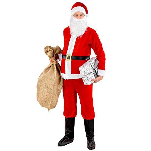 TecTake dressforfun Herrenkostüm Weihnachtsmann | Anzug-Oberteil mit Klettverschluss | Hose mit Gummizug | inkl. Bart, Stiefelstulpen und Zipfelmütze (XL | Nr. ()
