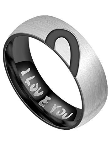 Neu Titan Stahl Halbherz Paar Ringe Ring ICH Liebe Dich Paare,Black,13