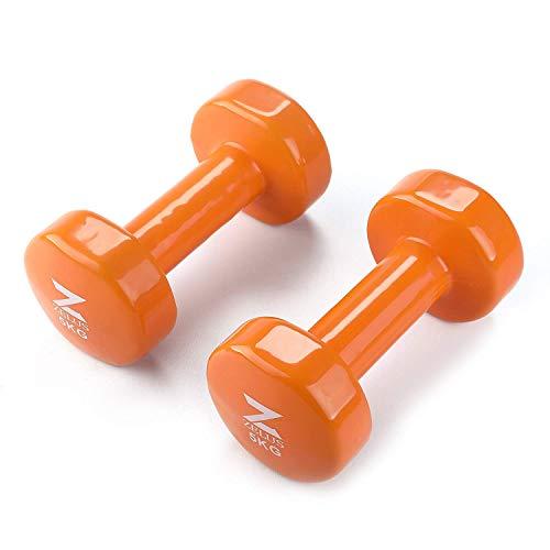 Gusseisen 2er Set Kurzhanteln Hanteln Paar Fitness Cast Iron Vinyl Coated Dumbbells 5 Gewichts- und Farbvarianten 1kg 2kg 3kg 4kg 5kg (orange 5kg)