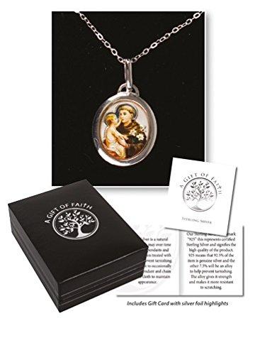 Sterling Silber St. Anthony Halskette Medaille 45,7cm Kette Halskette in Geschenkbox