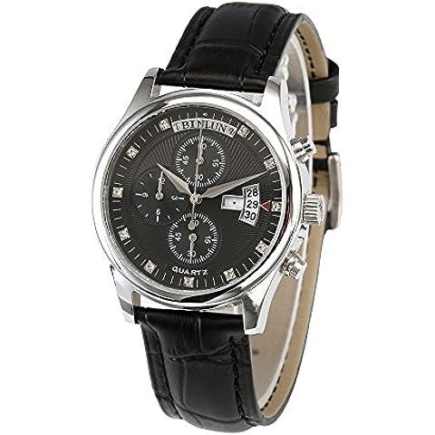 Tutti binlun da uomo nero Orologio impermeabile al quarzo giapponese calendario perpetuo con funzione cronometro orologio - Gunmetal Scheda