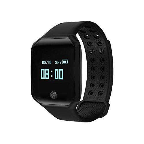 XWCPDM wasserdichte Schrittzähler Sport Armband Smart Armband Kontinuierliche Herzfrequenz-Blutdruck-Test Smartwatch (Color : Black)