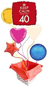 'Keep Calm You're Only 40′ Square Foil Balloon – 18 Inches / 46cm (Inflated) Balloons in a Box - 6 Balloons