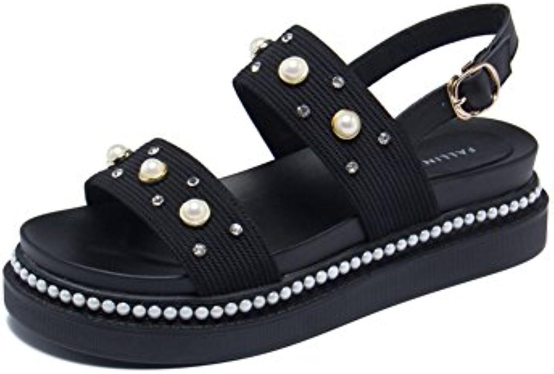 Zapatos de Mujer Sandalias de Tacón bajo Hebilla de Verano Arco al Aire Libre Sandalias de Moda Zapatos Tamaño... -