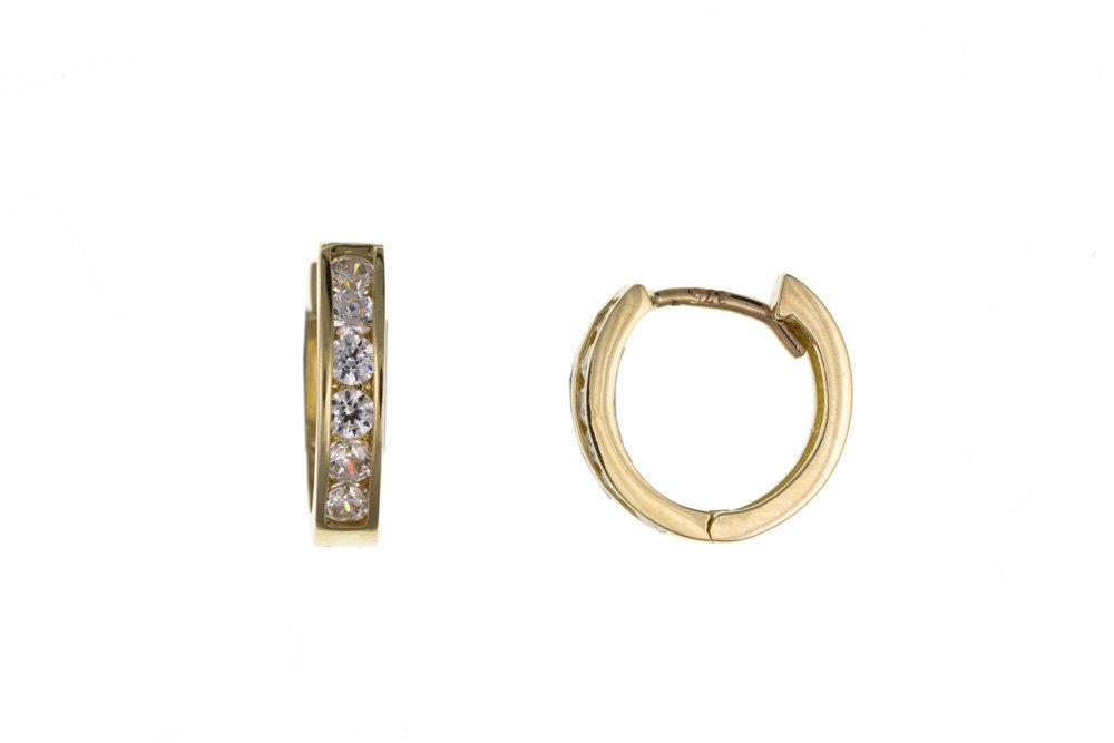 Yellow Gold Gents CZ Huggie Earring – British Made – Hallmarked