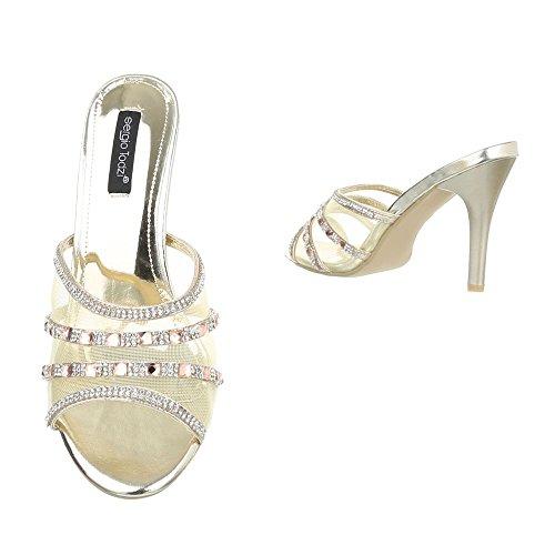 Pantoletten Damen Schuhe Jazz & Modern Pfennig-/Stilettoabsatz High Heels Ital-Design Sandalen / Sandaletten Gold