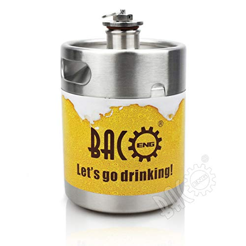 41UfYN%2BnP7L. SS500  - BACOENG 2L Stainless Steel Mini Keg Style Beer Growler with Exhaust Valve