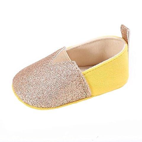 Bébé Chaussures, Malloom® Lit bébé fille Toddler  Fleur Nouveau-né Doux Semelle antidérapante Bébé Baskets (6 ~ 12 Mois, Or)